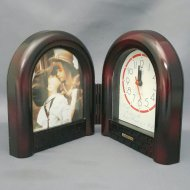 PHOTO FRAME W/ CLOCK ASSTD COLOR